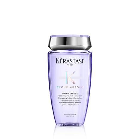 Purple Bain Lumiere shampoo for blond hair standing bottle with white background